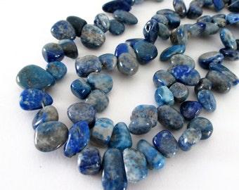 "Sodalite Teardrop Beads - Denim Blue Sodalite Gemstone - Semi Precious Polished Stone Beads - Top Drilled - 16"" Strand - DIY Jewelry Making"