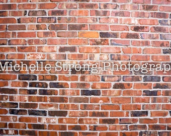 Instant Download, Stock Photography, Red Brick Wall Backdrop, Digital Photography Props, Scrapbooking Paper, Brick Background, Digital Wall