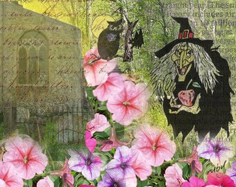 ZNE ATC ACEO - A Witchy Night - Digital Collage Art by ruby