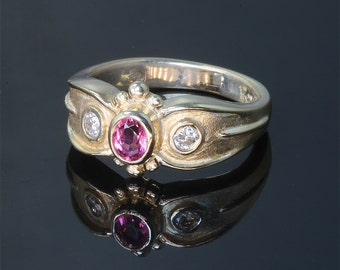 14K Gold Ring with Pink Tourmaline and Diamonds by Cavallo Fine Jewelry