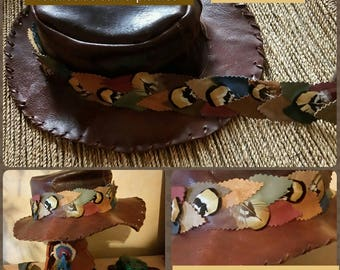 Hat trim leaves leather & feathers