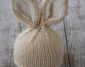 Knit Baby Bunny / Newborn Hat, Easter Rabbit, Knitted Photo Prop, Biscuit with Cream Inner Ears, Custom colors avail, NB