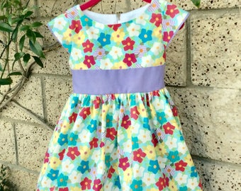 Toddlers girls cotton dress, designers dress, Easter spring dress, floral dress, lined ruffle sleeves, sash, 2T 3T 4T 5T