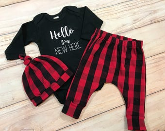 Red Plaid Coming Home Outfit / Buffalo Plaid / Baby Boy / Gender Neutral