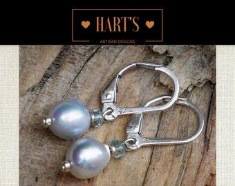 Baroque Akoya Saltwater Pearl & Blue Topaz Gemstone Earrings