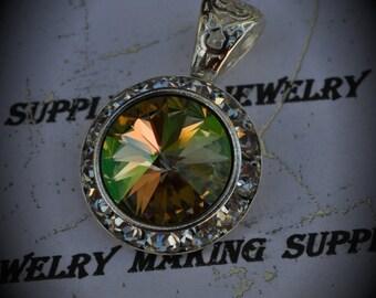 Genuine Rivoli Silver Plated Swarovski Crystal Luminous Green Pendant