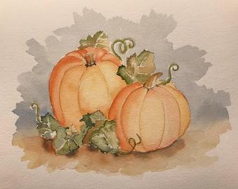 Pumpkins (Original Watercolor Painting)