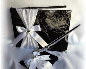 Black and White Wedding Guest Book and Pen, Black Wedding Guest Book, Black and Silver Guest Book, Floral Wedding guest Book