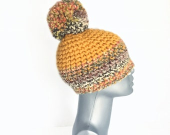 Mustard Yellow Chunky Beanie with Pom, Fall Colors Crochet Hat, Yellow Winter Beanie With Puff, Gold Pom Pom Knit Hat, Warm Winter Ski Cap