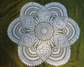 Crochet doily-  25 inches -  Large doily - White lace tablecloths