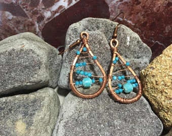 Copper wire teardrop earrings, blue beaded earrings, handmade copper earrings, hammered copper earrings, tribal earrings, boho earrings