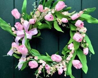 Prettiest Pink Tulip Wreath