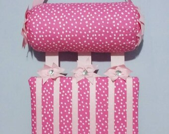 "Headband Holder or head band holder hairbow organizer board ""soft pink with white polkadots"" Handmade combination holder"
