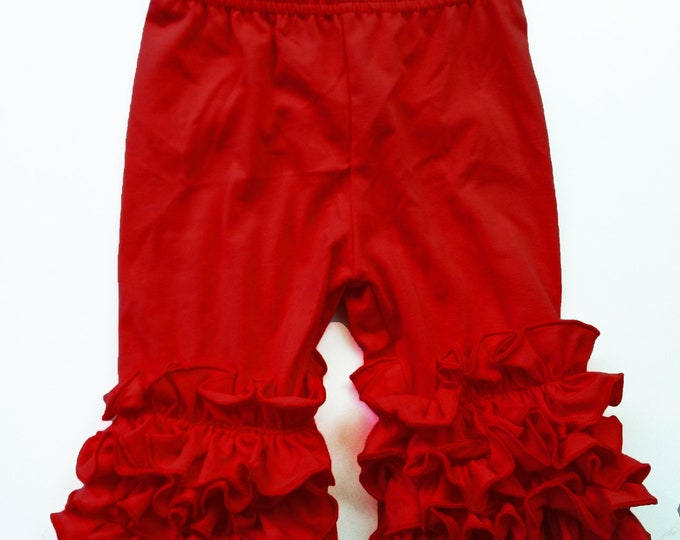 Featured listing image: Ruffle Capris Girls Clothing Red, Yellow, Little Girls Ruffle Toddler Icing Capris Layering Pants Ruffle Leggings Toddler Capri Pants