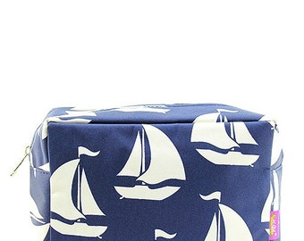 Monogrammed Make Up Case Cosmetic Case Toiletry Bag Sailboat Nautical Print Navy Blue and White