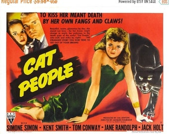 Spring Sales Event: CAT PEOPLE Movie Poster 1942 Horror Mystery Classic
