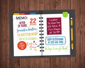 Memo Book Retirement Party Invitation (Printable, Memo, Office, Planner, Retired, Date Book, Handwriting)