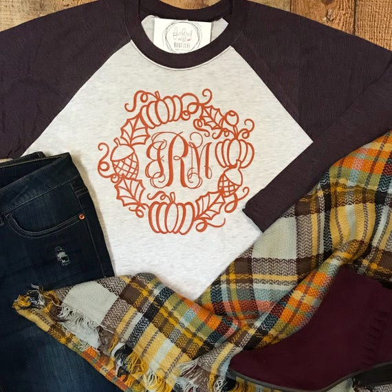 adcce63e Monogrammed Thanksgiving Wreath Shirt Monogrammed Fall