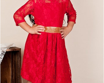 Gloria Party Dress: Girl's knit dress pattern, play dress pattern, lace dress pattern