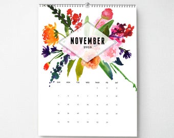 Monthly Wall Calendar, 11x14, 2018 Calendar, Watercolor Flower Gifts for Her  (cal0007)