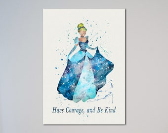 Cinderella Poster Watercolor Print Princess Fairy Tale Illustration Kids Nursery art little girl gift