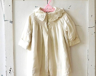 vintage girl's toddler smocked silk jacket cream/off white girl's button jacket