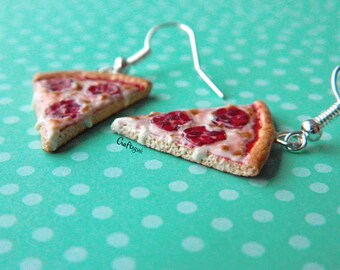 Pizza earrings / miniature food / polymer clay jewelry