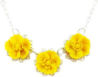 Three Buttercup Necklace - Trio Buttercup Jewelry, Buttercup Filigree Necklace, Yellow Buttercup