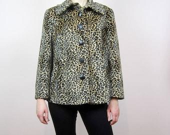 vintage Leopard Animal print // faux fur // Pea coat Medium