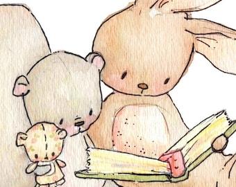 Children Art Print. Reading Threesome. PRINT. 8X10. Nursery Art Home Decor