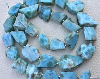 Limited Stock,Brand New, Amazing Natural LARIMAR Hammered Rock Full Drilled Nuggets,10-15mm,Full 8 Inch Strand,Amazing Rare Item