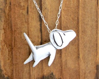 Sterling Jumping Dog Necklace - Silver Dog Pendant
