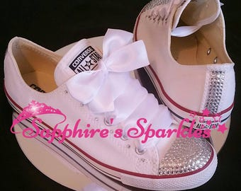 Silver Bling Crystal Customised Wedding Bride Bling Sparkly White Dainty Slim Converse