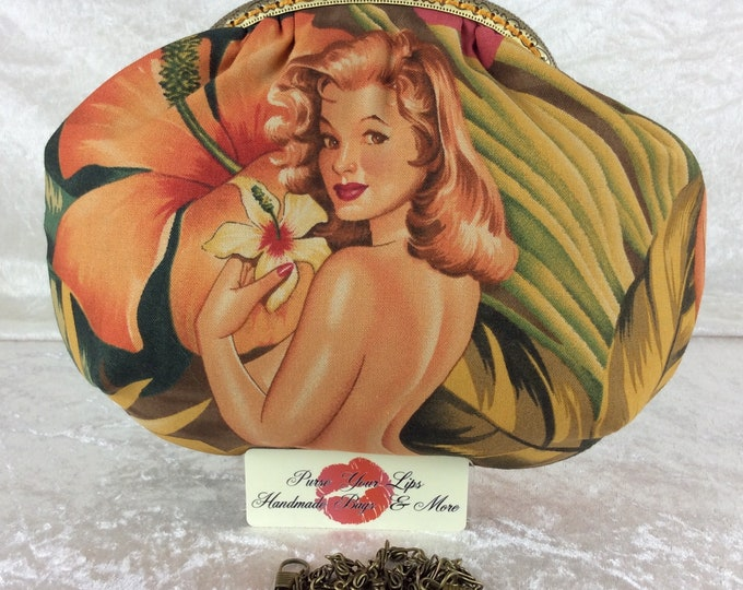 Handmade handbag purse clutch kiss clasp Alice frame bag Alexander Henry Tropical Burlesque Ladies Mirage Pin Ups
