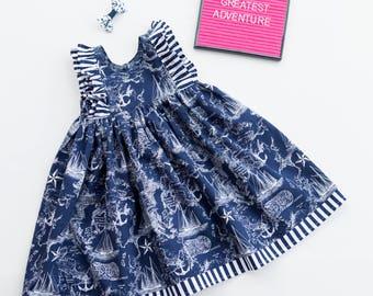 Nautical Dress, Summer Dress, Sailboat Dress, Sailor, Navy Dress, Baby Girl Dress, Toddler Dress, Little Girl Dress, Sizes 3/6mths-Girls 9