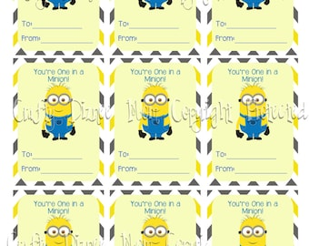 Printable You're One in a Minion Valentine's Day Card