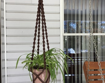Plant Hanger with no tassels,  brown macrame plant sling, cat friendly plant holder, 4 mm  polyolefin cord, neutral color macrame