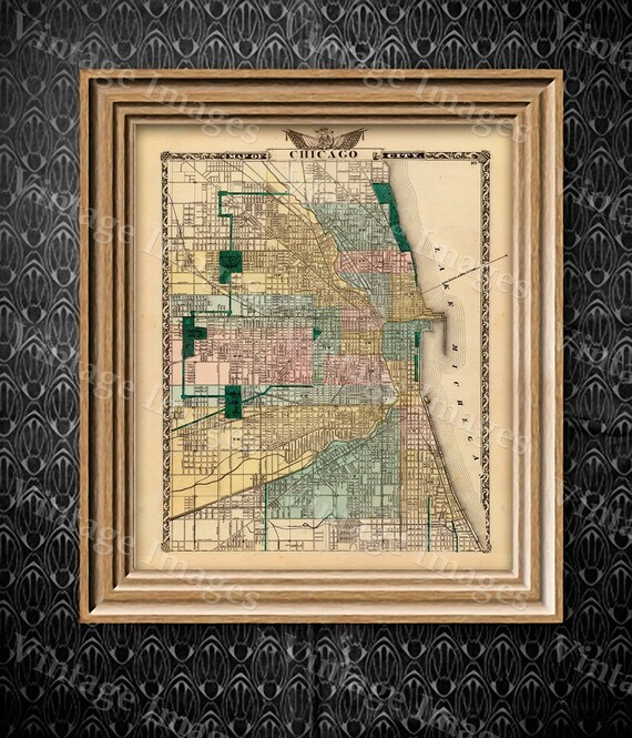 """Vintage Map of Chicago, 1857 Chicago Illinois map Antique Chicago Map Restoration decorator Style Map up to 43"""" x 54"""" Old Chicago Wall map"""