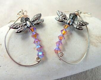 Dragonfly Sterling Silver Earrings. Dragonflies. Swarovski Crystal Earrings