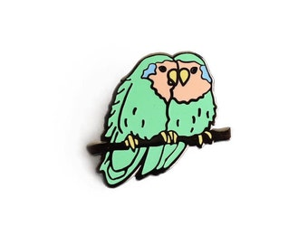 Lovebirds Enamel Pin - Bird Lapel Pin // Hard Enamel Pin, Cloisonné, Pin Badge