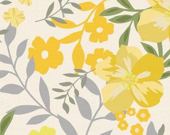 Yellow Floral Tropic Organic Fabric - By The Yard - Girl / Modern / Fabric