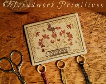 Primitive Cross Stitch Pattern - All in Bloom Threadkeep