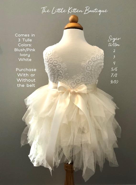Ivory Flower Girl Dress Pink Flower Girl Dress Lace Flower Girl Dresses Tulle Flower Girl Dress wedding bridesmaids tutu rustic