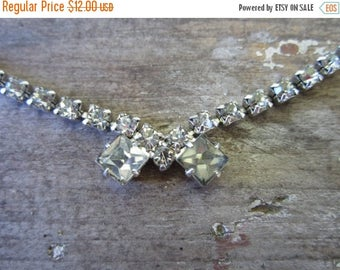 On Sale Rhinestone 1960s Necklace. Vintage Square Stones. Petite, so sweet