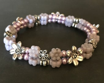 Two-Strand Purple and Silver-Plated Flower Sliders with Tiny Purple Pearls Stretch Bracelet
