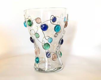 Flower Vase-Curvy, Glass Vase, Wire Wrapped Vase, Table Decor, Wedding Centerpiece, Rustic Decor, Colorful Vase, Rustic Wedding
