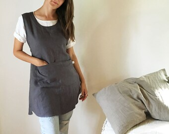 Light Pinafore Apron Dress, Linen Smock, Linen Pinafore Apron, Pinafore Dress with Strings, Full apron Dress, Linen coverup, Smock Apron