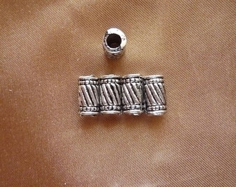 """Bead, antiqued silver-finished """"pewter"""" zinc-based alloy, 10.5x6mm tube, Pack Of 10 beads."""