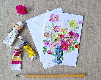 Bright Bouquet Hand-Painted Watercolor Floral Greeting Card