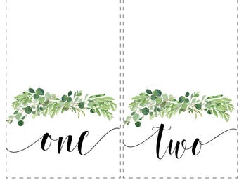 Eucalyptus Tented Table Numbers/ Table Number Cards/ Printable/ DIY Table Numbers